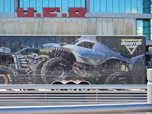 Monster Jam trailer featuring Megalodon